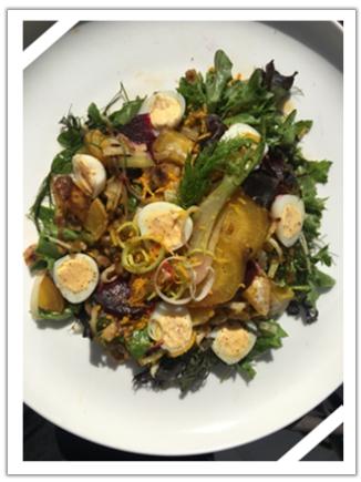 Golden Beetroot, Leek, Fennel  & Quail Egg Autumn Salad